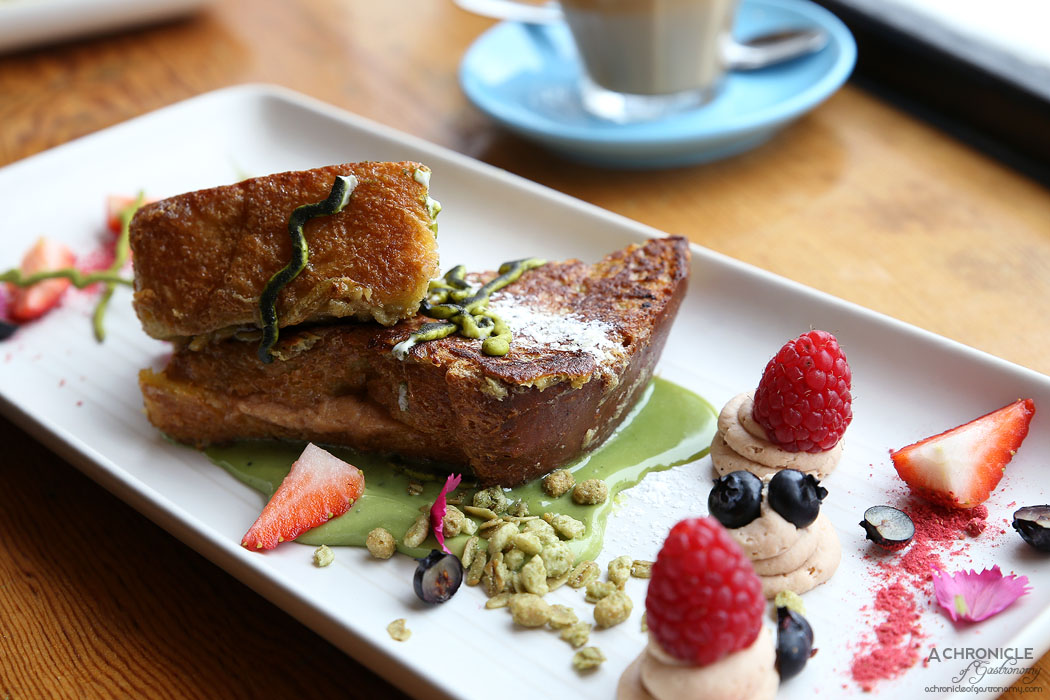 Uncle Drew - Matcha french toast - chestnut mascarpone, callebaut white chocolate sauce, green tea granola, fresh berries and raspberry powder ($18)