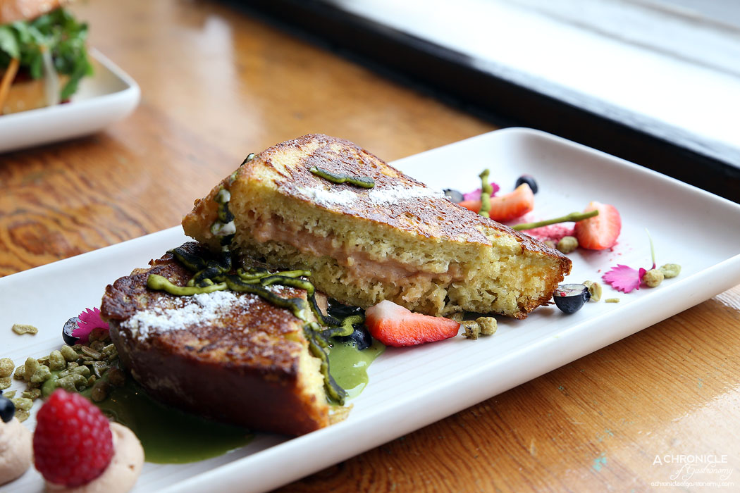 Uncle Drew - Matcha french toast - chestnut mascarpone, callebaut white chocolate sauce, green tea granola, fresh berries and raspberry powder ($18)
