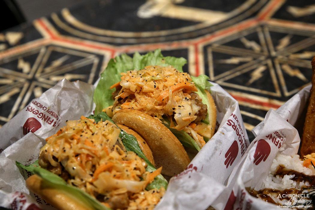 4Fingers Chicken - Katsu Sandwich - Signature, chicken, kimchi coleslaw, crispy bao ($12)