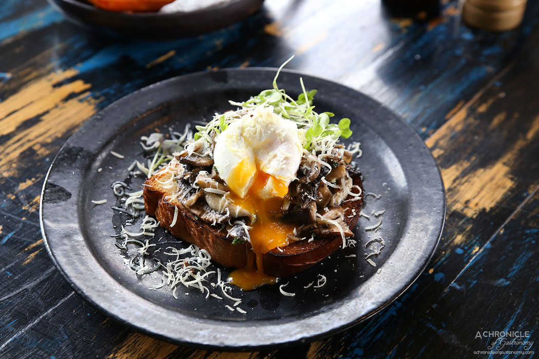 Boot Factory - Sauteed Wild Mushrooms With Truffle Infused Butter with toasted brioche, shaved ricotta salata add poached egg ($16.50 + $2.50)