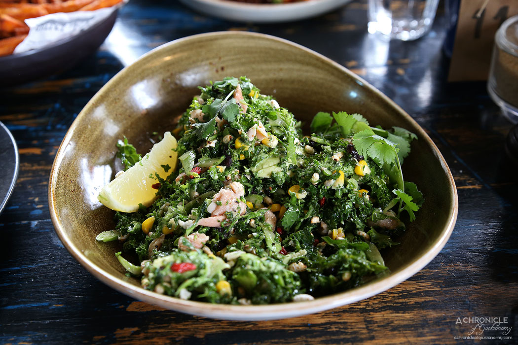Boot Factory - Kale and Raw Broccolini Salad with chargrilled corn, black turtle beans, puffed wild rice, goji berries, fresh avocado, spicy grainy mustard dressing add hot smoked trout ($17 + 5)