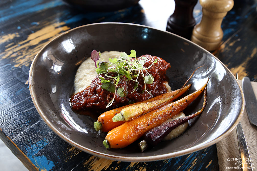 Boot Factory - Slow Braised Beef Cheek with horseradish cauliflower puree and heirloom carrots ($22)