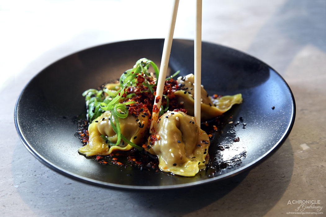 Oriental Teahouse - Chilli Wagyu Beef Dumplings Marinated In Kaffir Lime, Served With A Homemade Chilli Sauce (4 for $9.80)