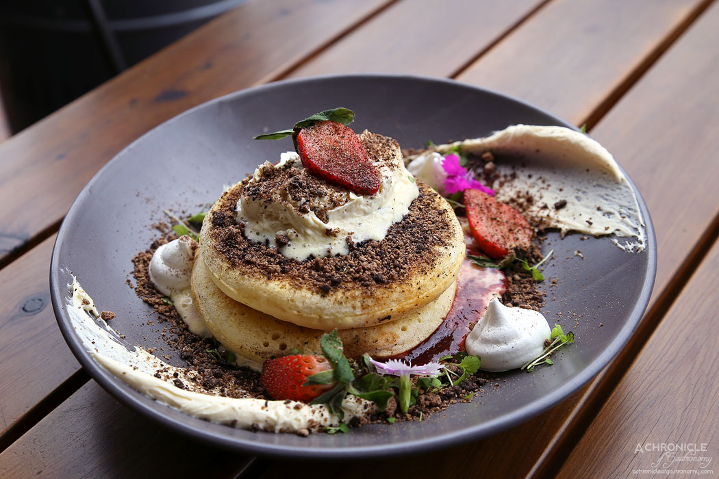 Saint James - Strawberries and Cream Pikelets, vanilla creme fraiche, meringue gems, fresh strawberries, coffee & chocolate soil ($18)