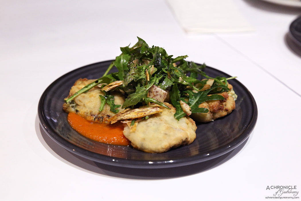 ENA Greek Street Food - Zucchini fritters with napoli sauce and rocket