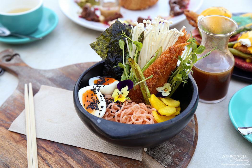 The Butler's Den - Tempura Ramen - Beets ramen w prawn tempura, enoki, asparagus, pickled daikon, soft boiled egg, seaweed chips, housemade miso tare ($21)