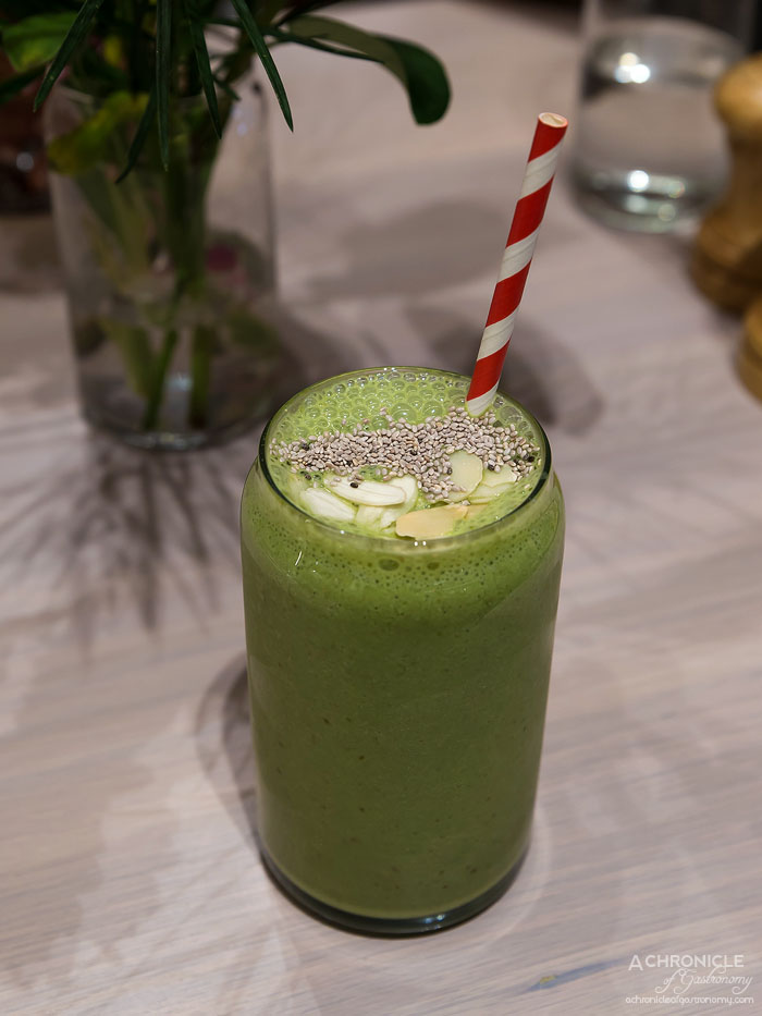 Workshop Bros GW - Matcha Smoothie - Almond milk, dates, chia, banana and almonds ($9)