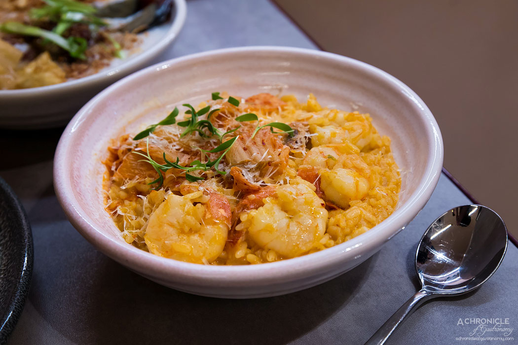Workshop Bros GW - Kimchi Risotto - Risotto and prawns cooked in chilli broth and topped w gruyere cheese ($26.90)