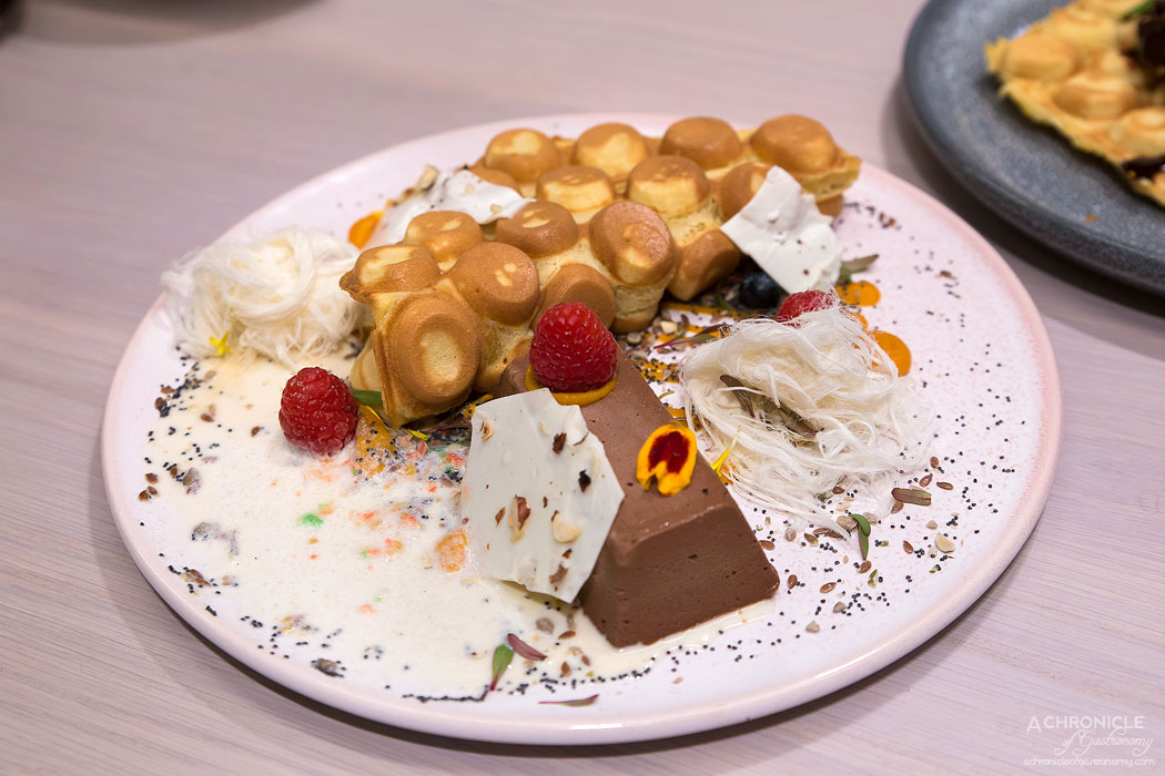 Workshop Bros GW - Sweet HK Waffle - Crispy Hong Kong waffle, dark chocolate parfait, vanilla fairy floss, white chocolate shards, hazelnuts, pumpkin caramel ($17.90)