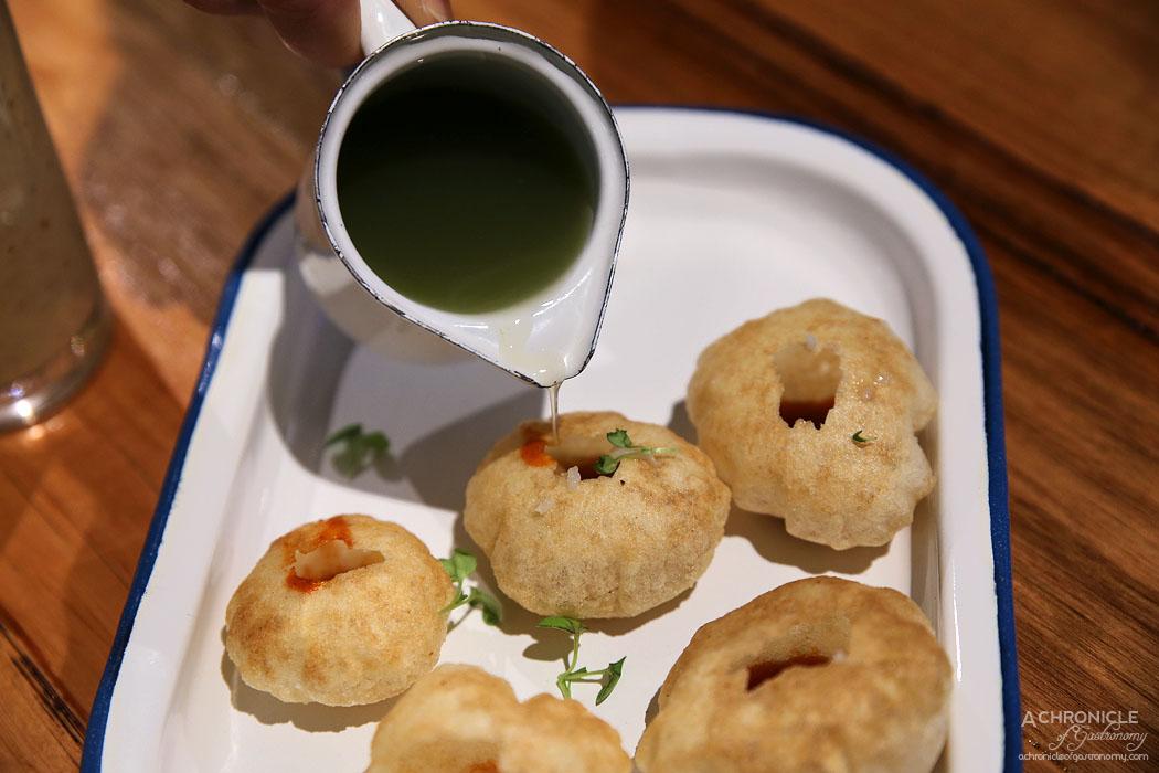 Bhang - Pani Puri - Crispy crackers w potato, chickpea and tamarind ($10)