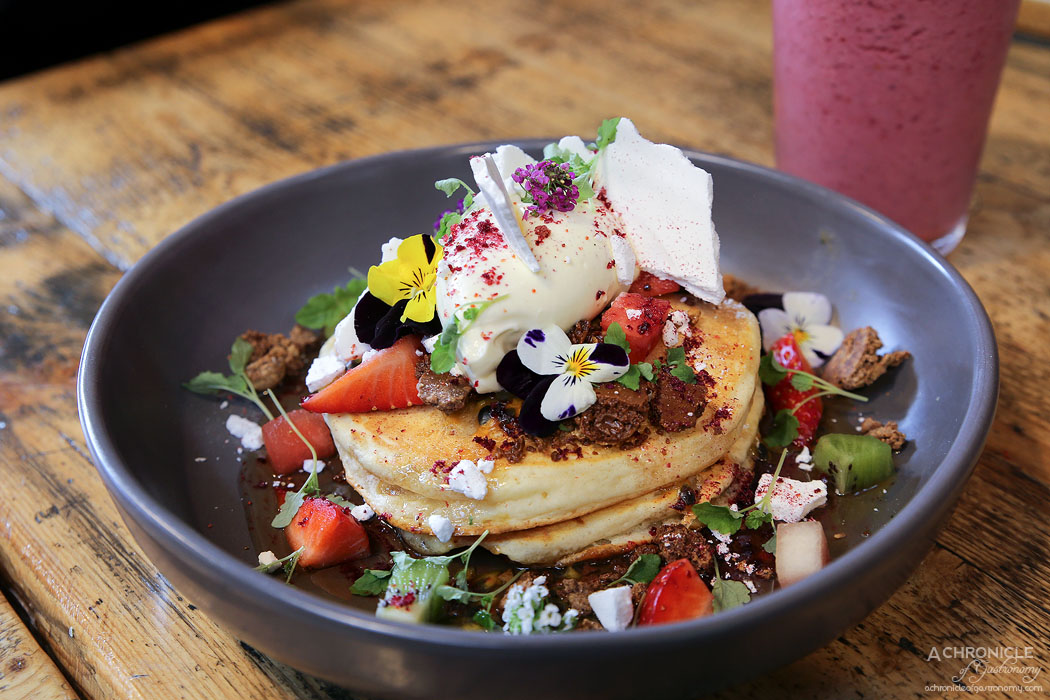 Faraday's Cage - Ricotta Pancakes - Caramelised white chocolate, broken meringue, passionfruit, maple syrup, dehydrated strawberry, lemon balm, mascarpone, berries ($17)