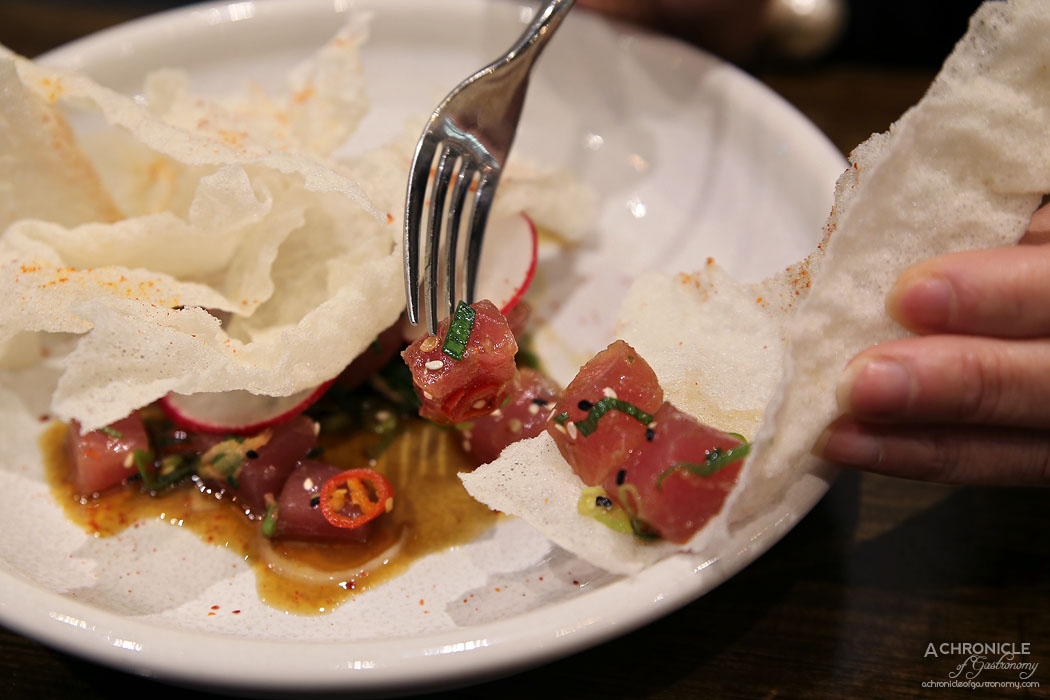 Imbue Food and Wine - Raw tuna, ponzu, spring onion, chilli, rice crisps ($20)