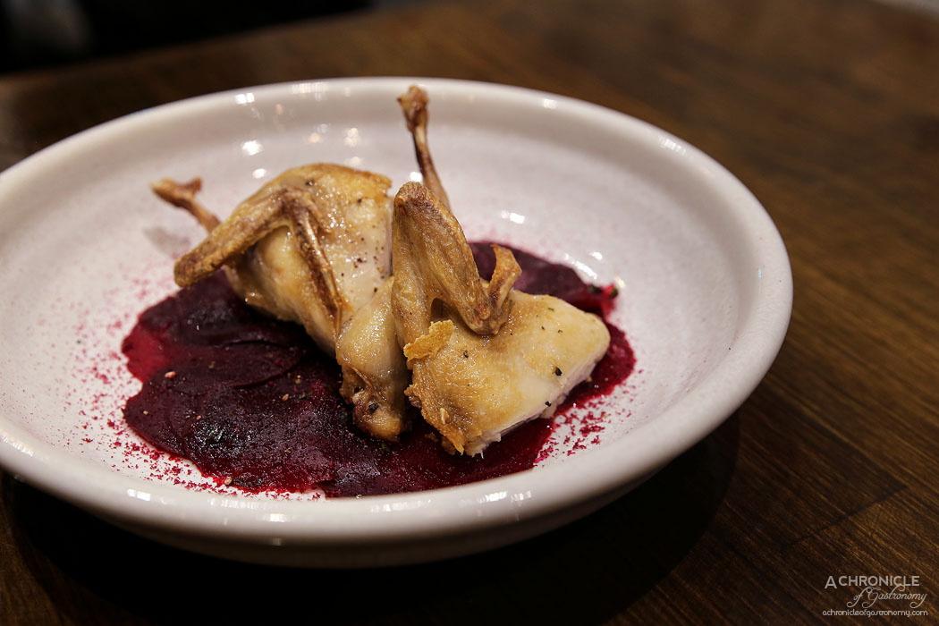 Imbue Food and Wine - Fried quail, pickled beetroot, balsamic ($16)
