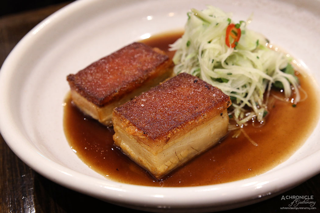 Imbue Food and Wine - Roasted pork belly, green papaya salad, coriander, chilli ($18)