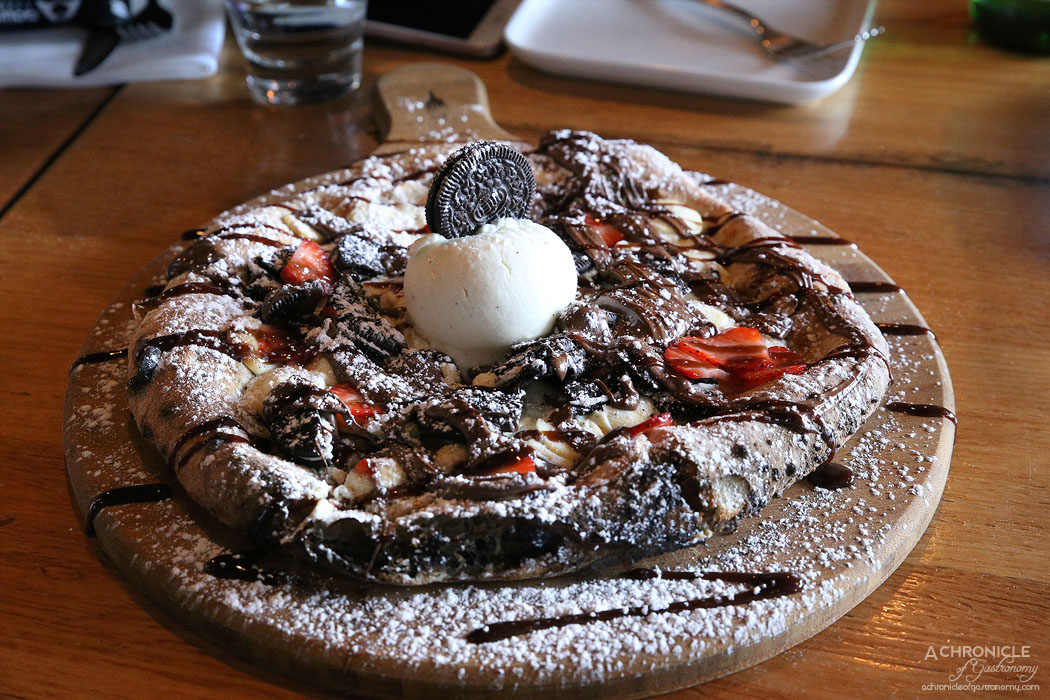 Mother Dough - White Chocolate Pizza with Nutella, Oreas, strawberries and ice cream
