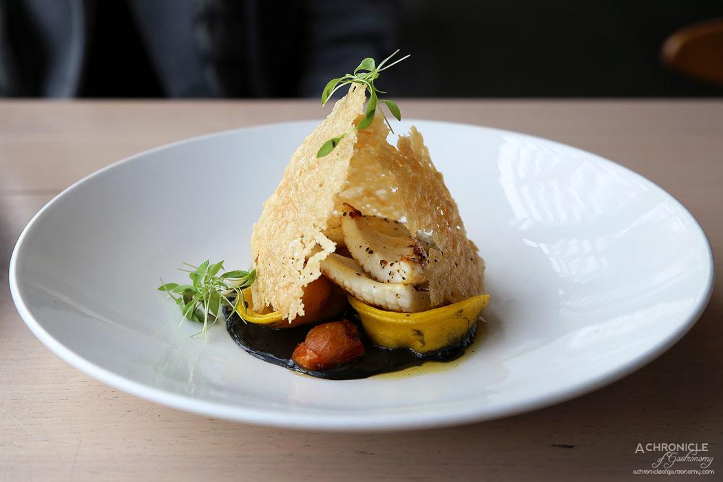 Mr Hobson - Prawn tortellini - Homemade prawn tortellini, calamari, squid ink butter sauce, parmesan crisp ($20)