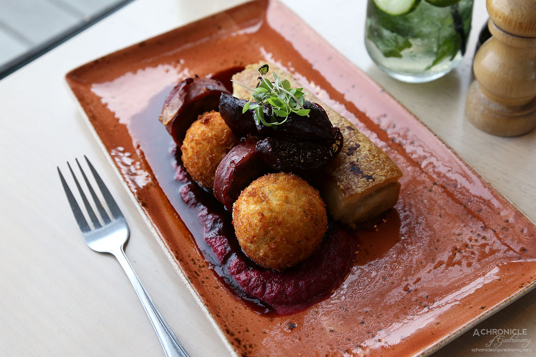 Mr Hobson - Confit pork belly - Pork roulade, chorizo and chive croquettes, roasted beets, thyme jus, beetroot puree ($33)