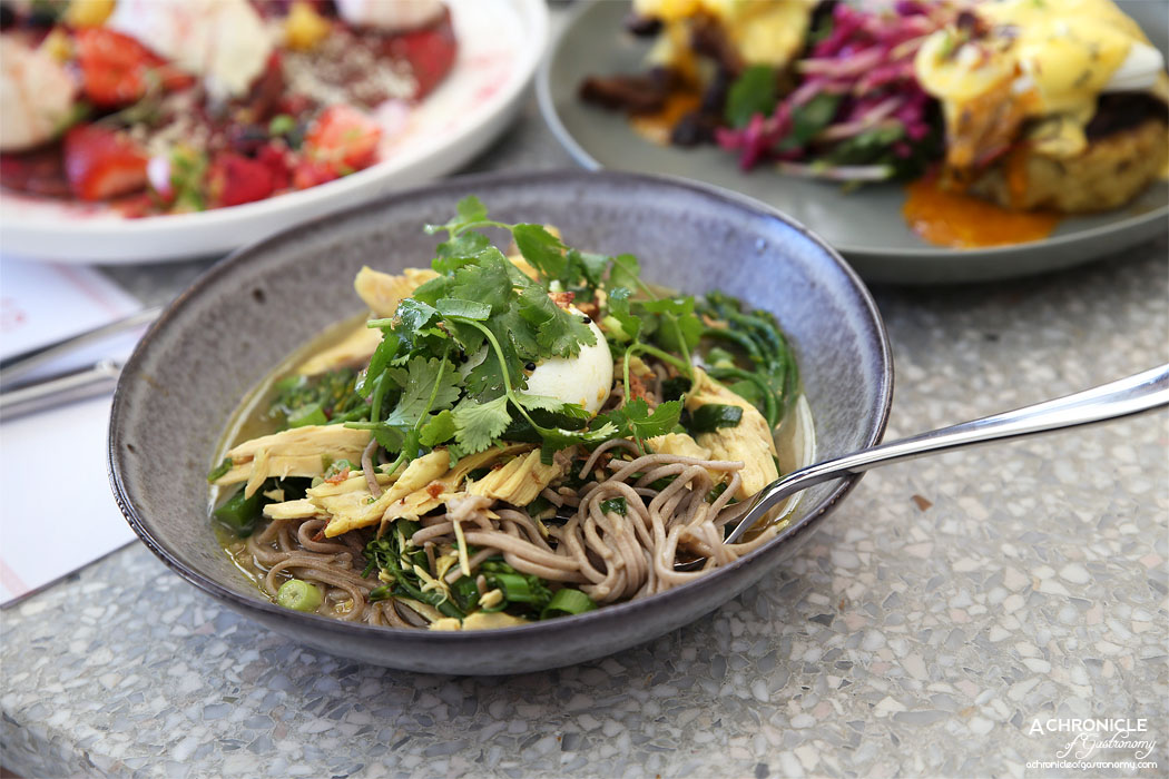 Northcote STN - Wasabi Milk Chicken, soba noodles, broccolini, ginger, turmeric, spring onion, hot sesame dressing, poached egg ($19)