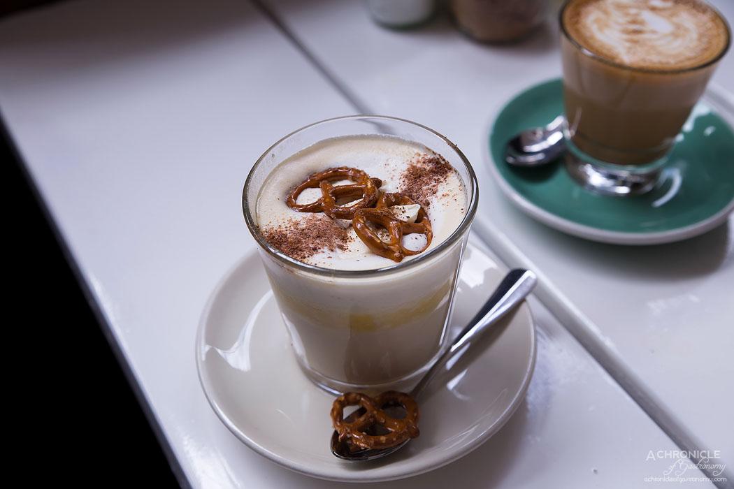 Pillar of Salt - Butterscotch hot chocolate w whipped cream, pretzles and nutmeg