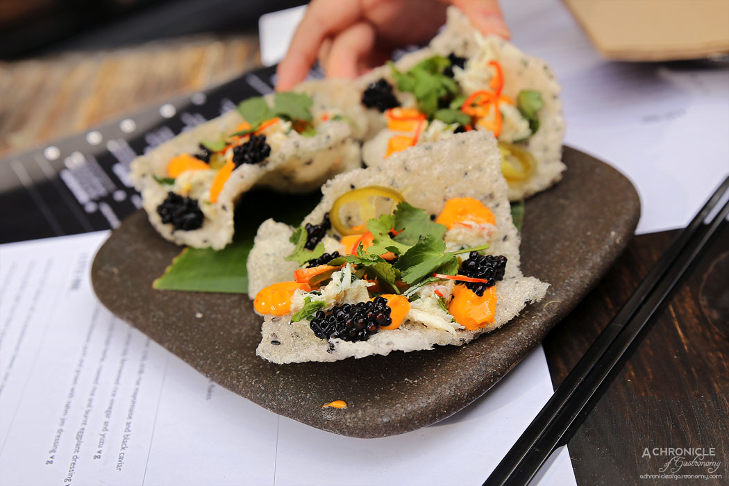 Rice Paper Sister - Black sesame wafer topped with fresh swimmer crab, crab roe mayo and black caviar (2 for $12)