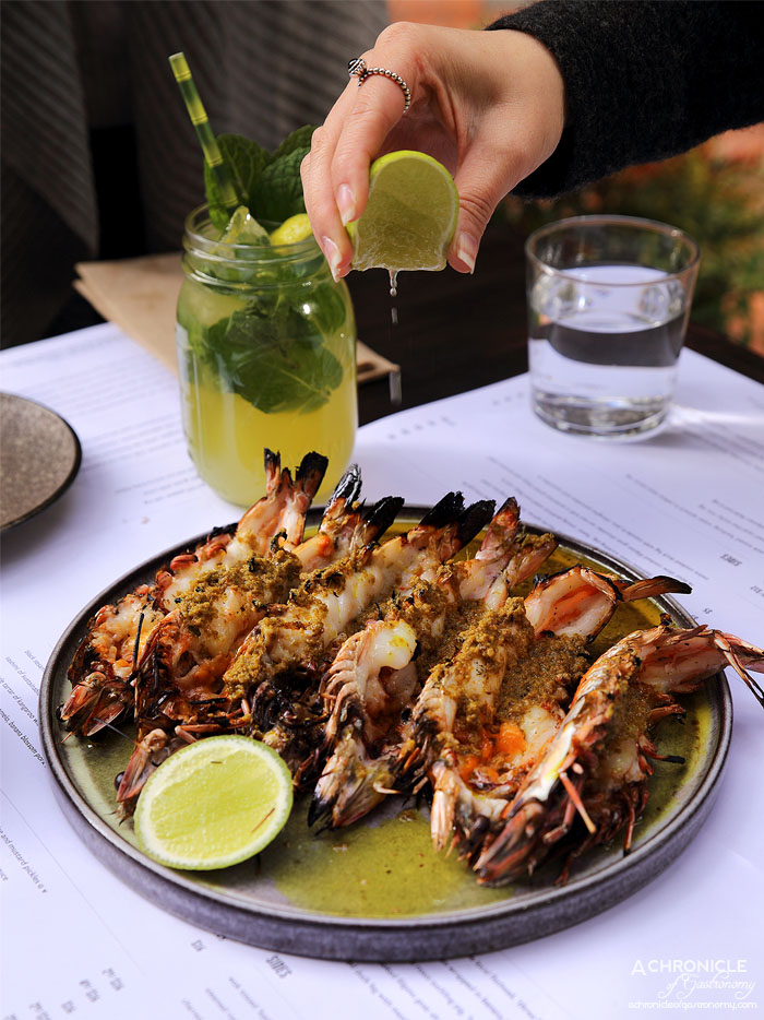 Rice Paper Sister - BBQ jumbo live Clarence River king prawns, Jimbaran spiced butter and lime sauce (2 for $19)