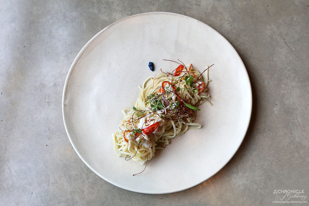 The Botanical - Spanner crab, angel hair pasta, chilli & roe ($16)