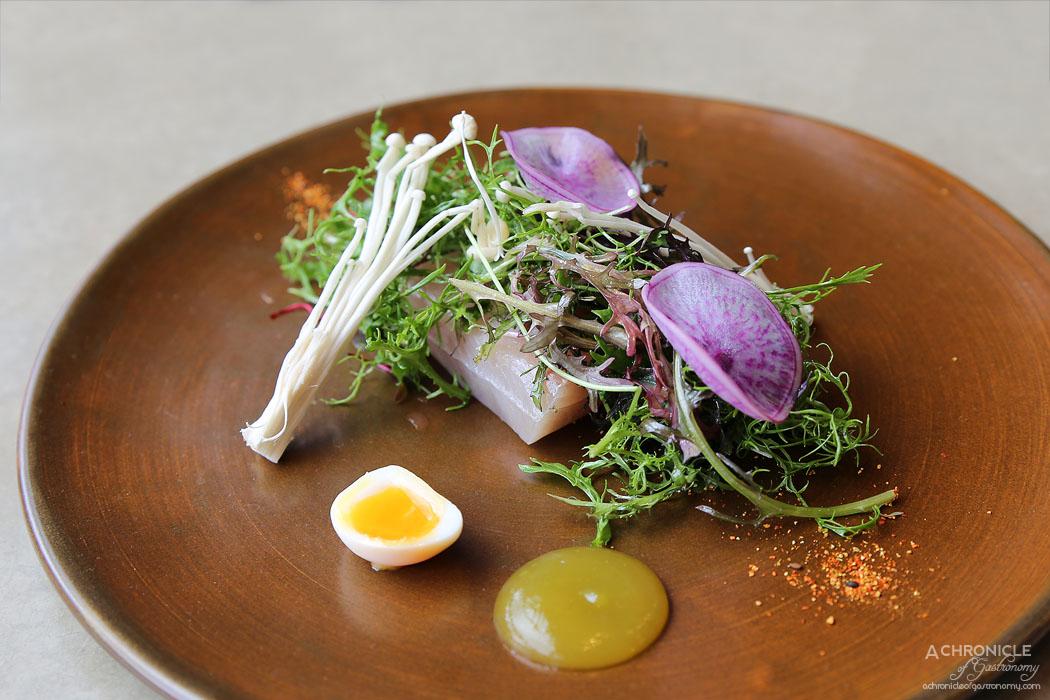The Botanical - Smoked kingfish, quail egg, enoki mushroom, radish & yuzu ($18)