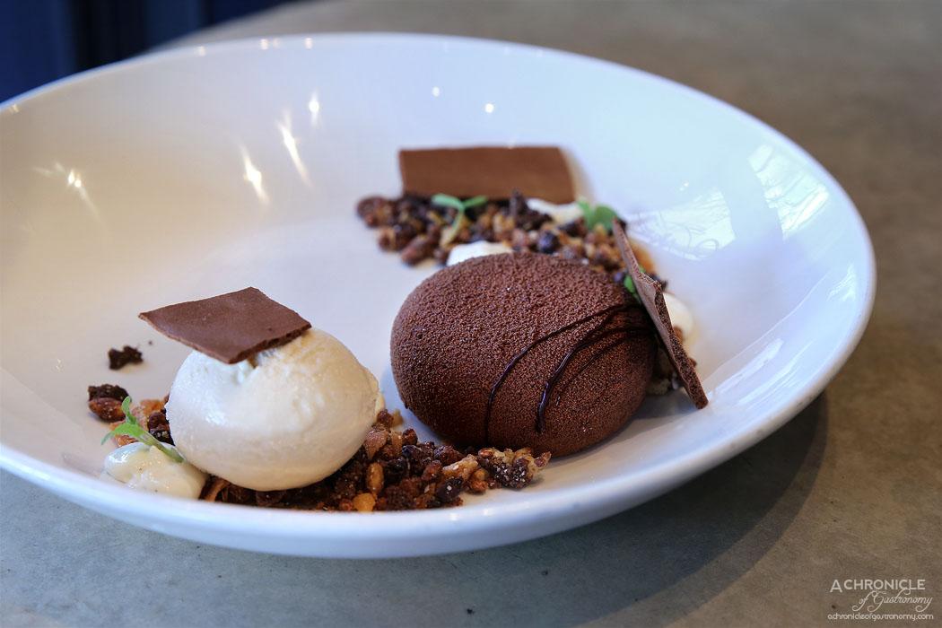 The Botanical - 65% dark chocolate mousse, mint chocolate custard, cocoa nib ice cream & cereal ($18)