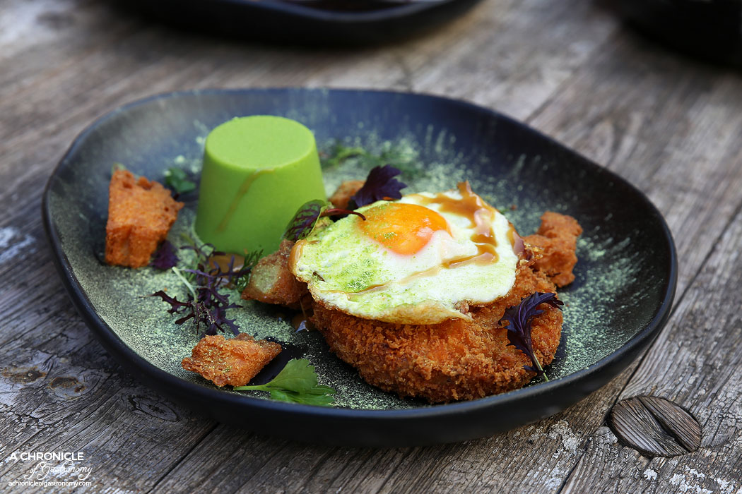 CH James - Crumbed Ham Hock w pea panna cotta, fried egg, pork jus and croutons ($19)