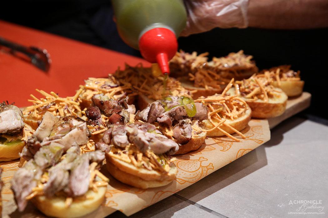 CHE - Mini Pollo Rollo - Che's signature roasted chicken roll - grilled chicken w apple, red cabbage and coriander slaw, pickled cucumber and fermented chilli sauce