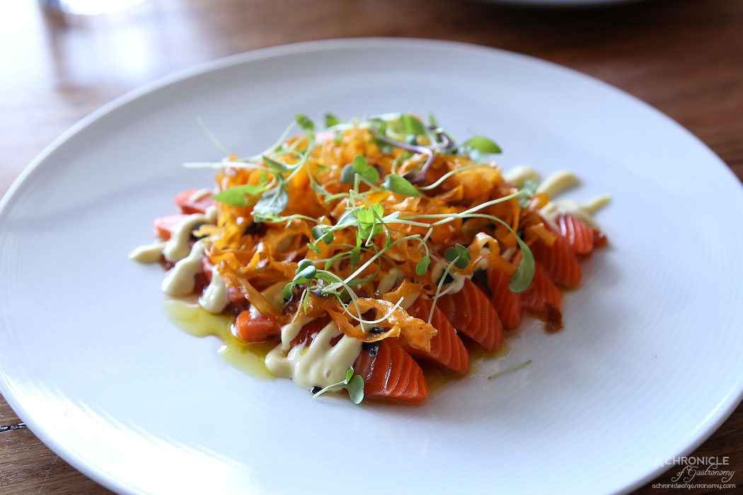 Camus - Marinated ocean trout, mechouia salad, preserved lemon ($28)