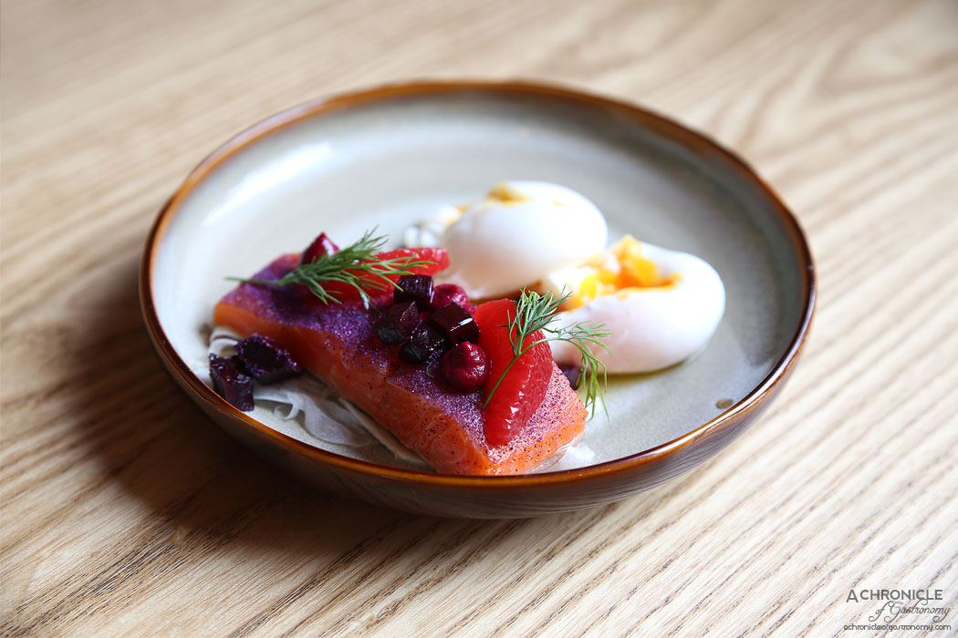 Nomada Cafe Y Tapas - Torched ocean trout, poached eggs, fennel, orange and beetroot salad ($19)