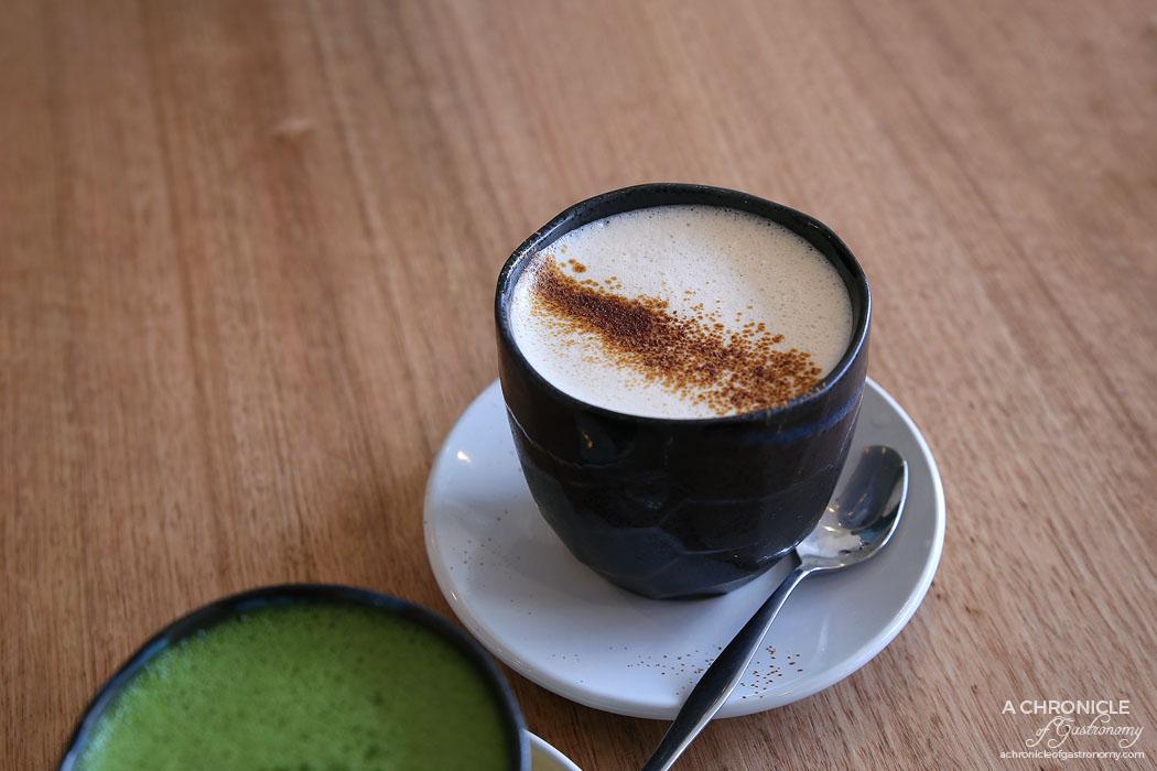 Proud Sprout - Matcha Maiden matcha latte ($4.50) Anuska Chai ($4.50)