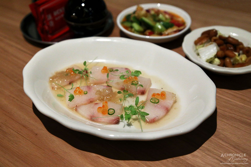 Ricky and Pinky - Raw cobia, sweet ginger dressing, scud chilli