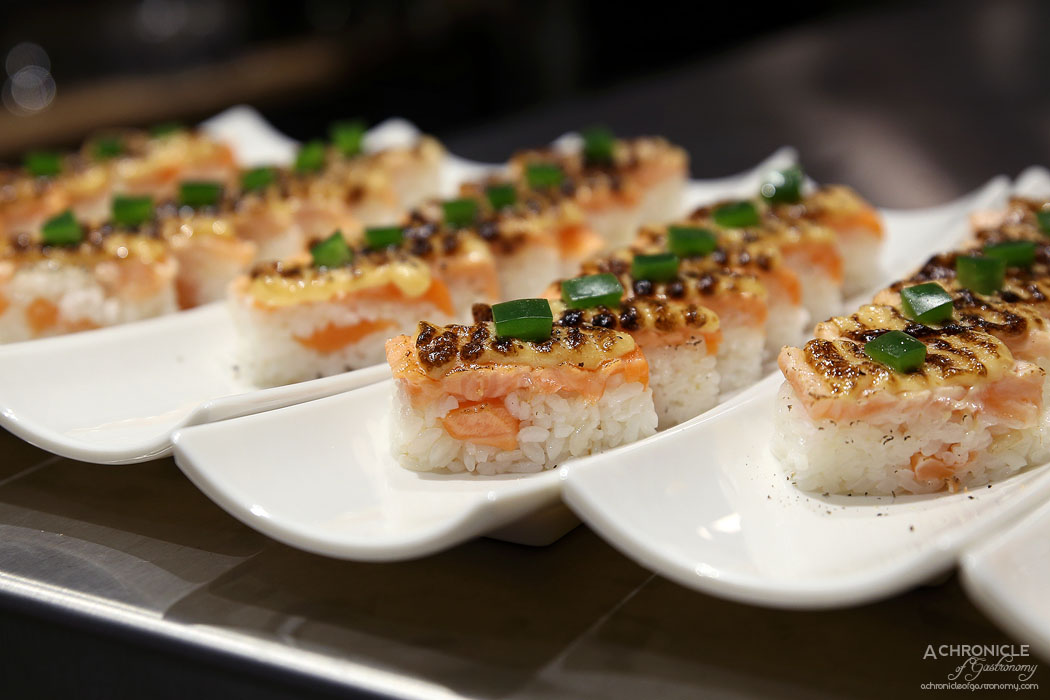 The Modern Eatery - Salmon Oshi - Pressed Salmon w Signature Aburi Sauce & Sweet Soy ($16)
