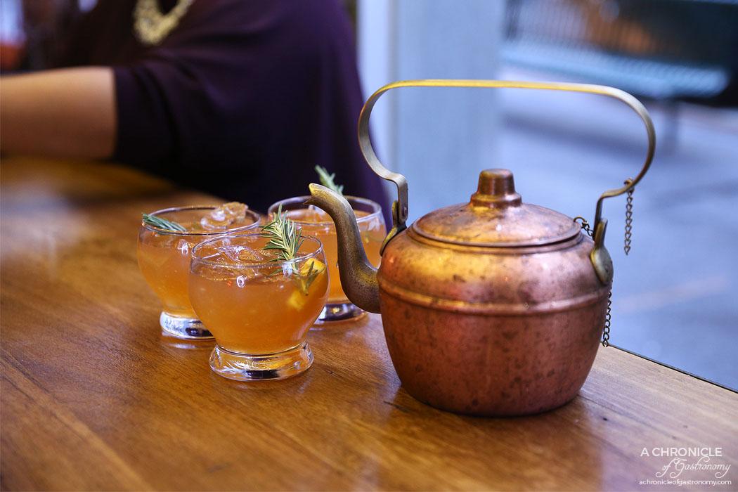 Brooklyn Depot - MadHattens Teapot - House Vodka, Cointreau, Elderflower Liqueur, Rosemary Syrup ($24)