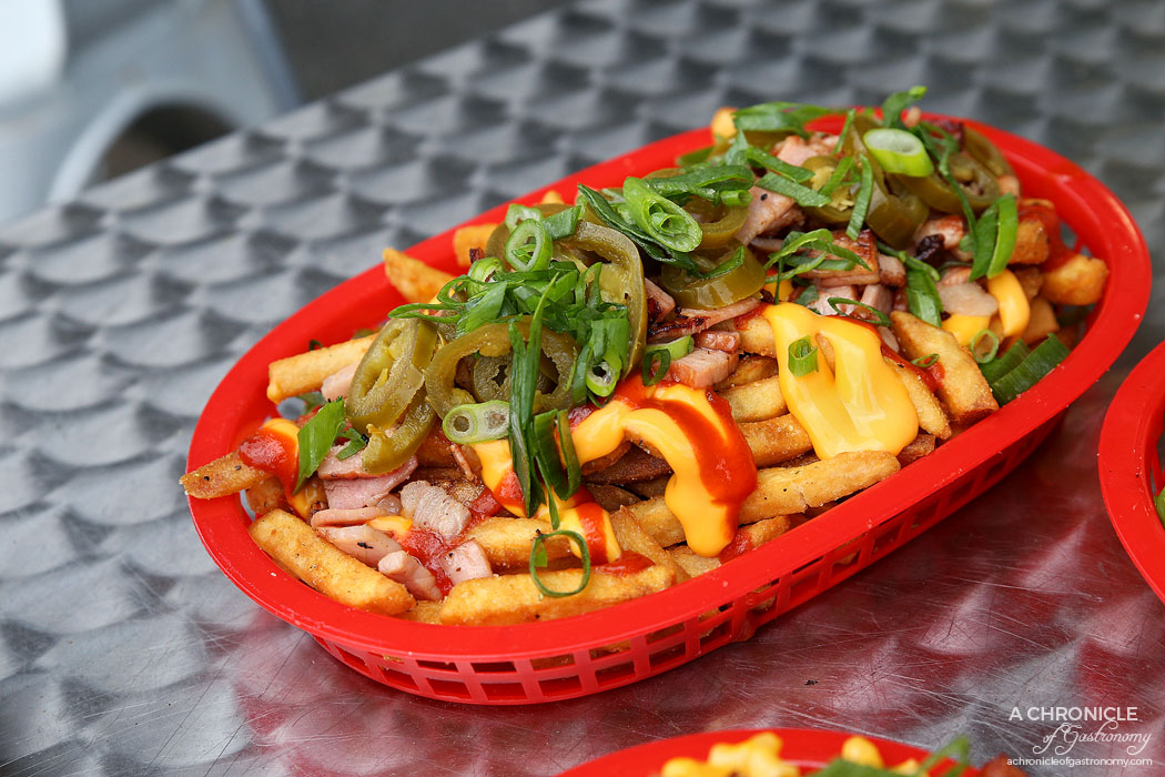 Burger Kitchen - Hot n Spicy Loaded Fries - Melted cheese, hot chilli sauce, bacon, jalapeno & spring onion ($9.90)