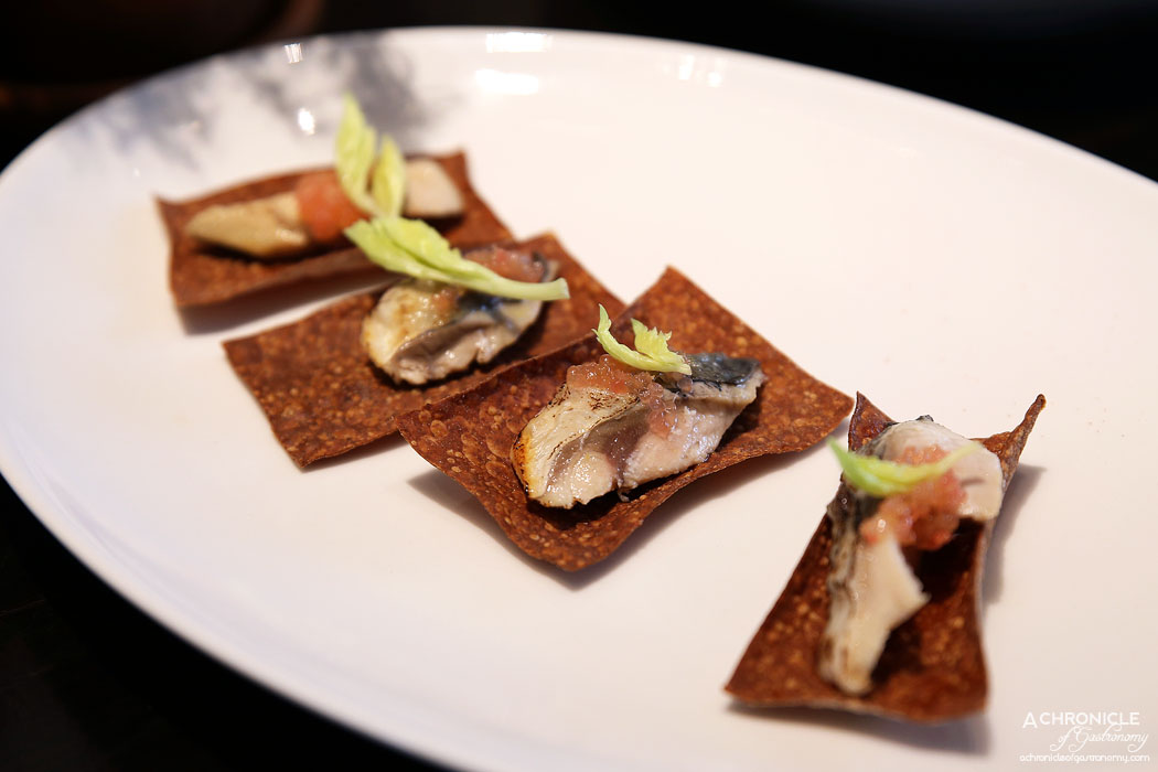 Burn City Smokers Pop-up Grand Hyatt - Pickled mackerel on rye, finger lime ($4 ea)