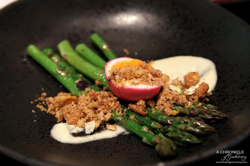 Burn City Smokers Pop-up Grand Hyatt - Asparagus, beetroot pickled egg, fried bread ($15)