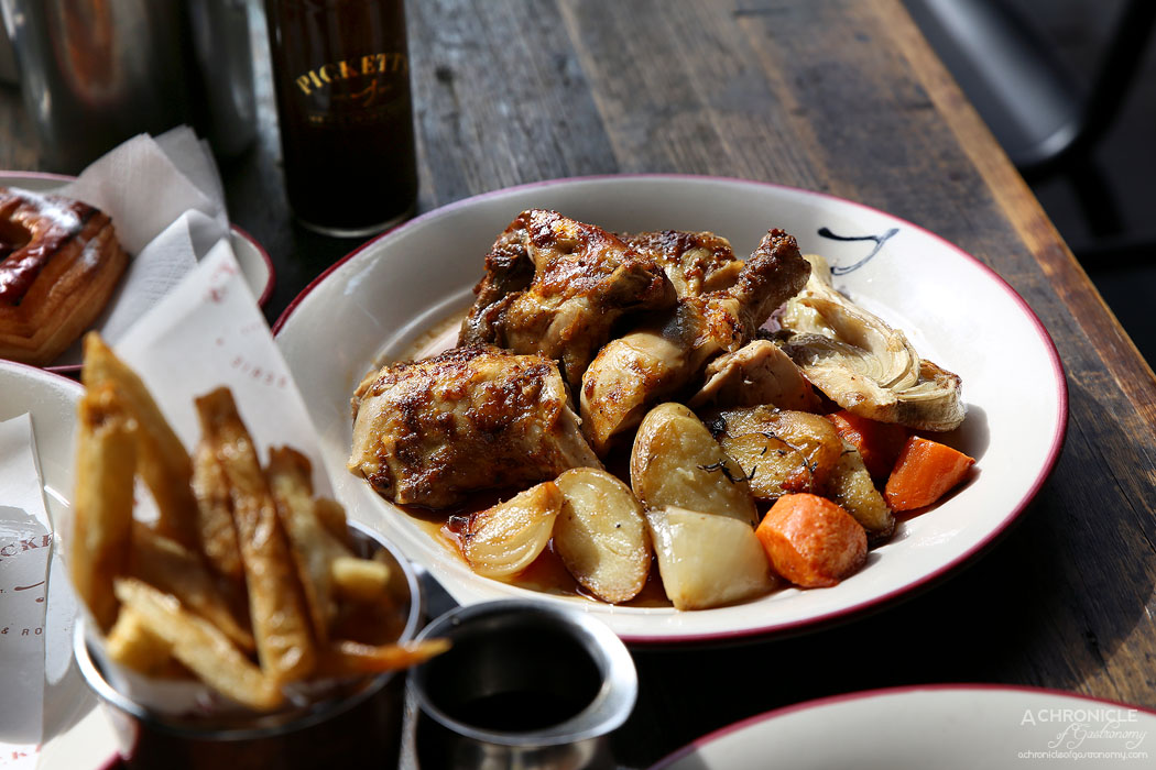 Pickett's Deli & Rotisserie - Half rotisserie chicken with confit veggies and gravy ($18)