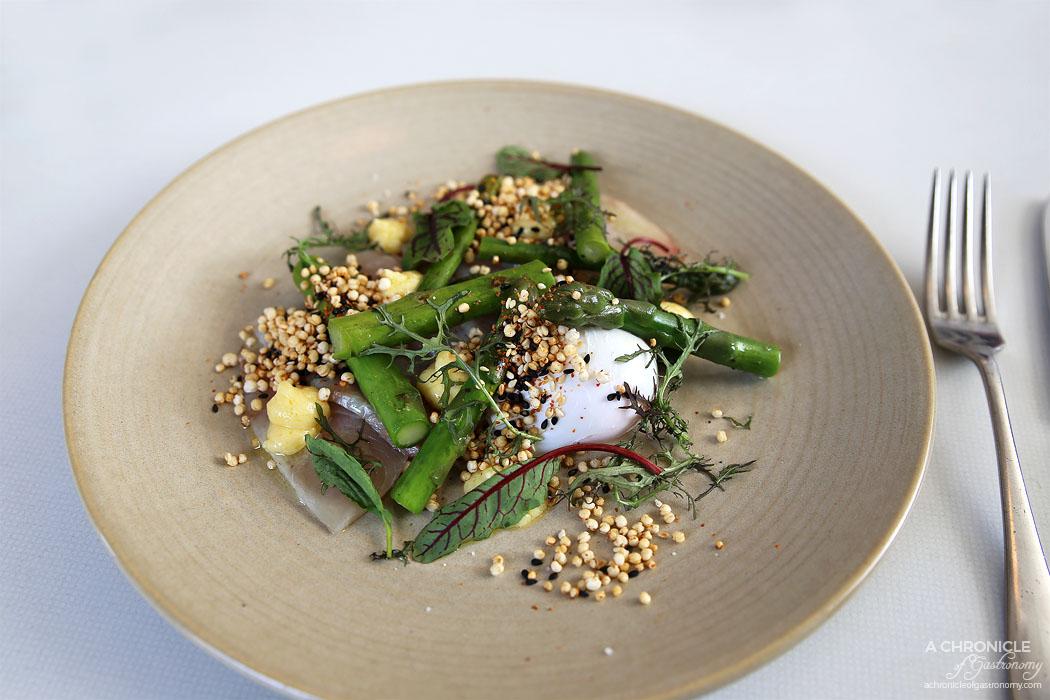 Terror Twilight - Cold Smoked Kingfish, asparagus, miso butter, puffed grain togarashi, poached egg ($22)