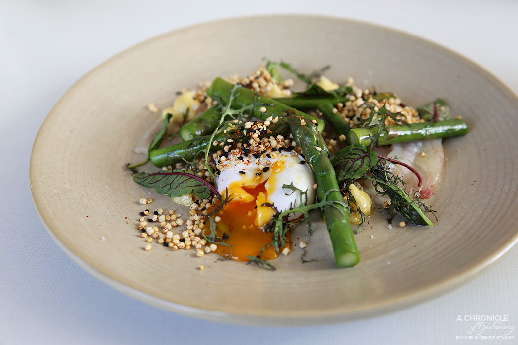 Terror Twilight - Cold Smoked Kingfish, asparagus, miso butter, puffed grain togarashi, poached egg ($22)