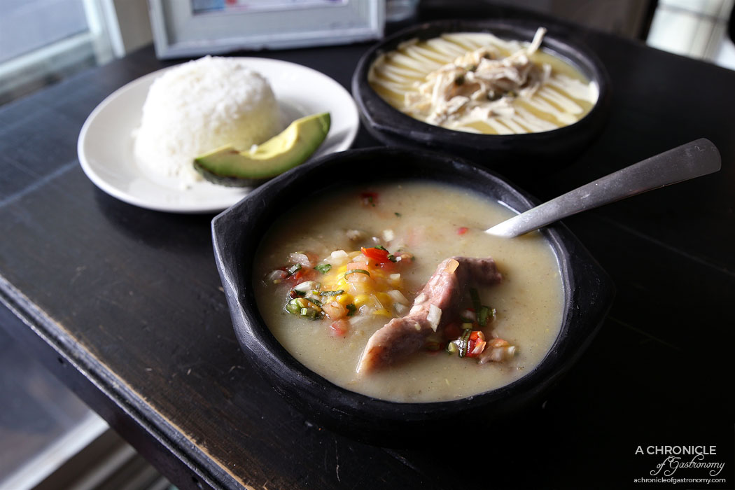 Cento Mani - Sancocho - Beef, potatoes, cassava, green plantain, corn cobs and carrots, rice, avocado, pico de gallo ($18) Ajiaco - Yellow and white potatoes, sweet corn, pulled chicken, guascas