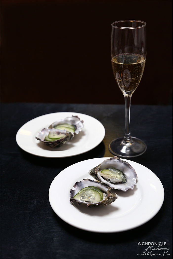 Fortify - Gin & Tonic Oysters - Gin, tonic, thinly shaved cucumber ($4 ea)
