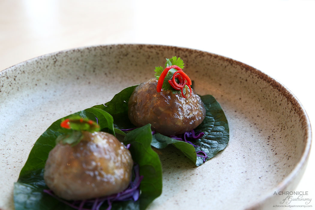 Merah - Pearl Dumplings - Tapioca sago, turnip, pork shoulder, peanuts, betel leaf (3 for $15)