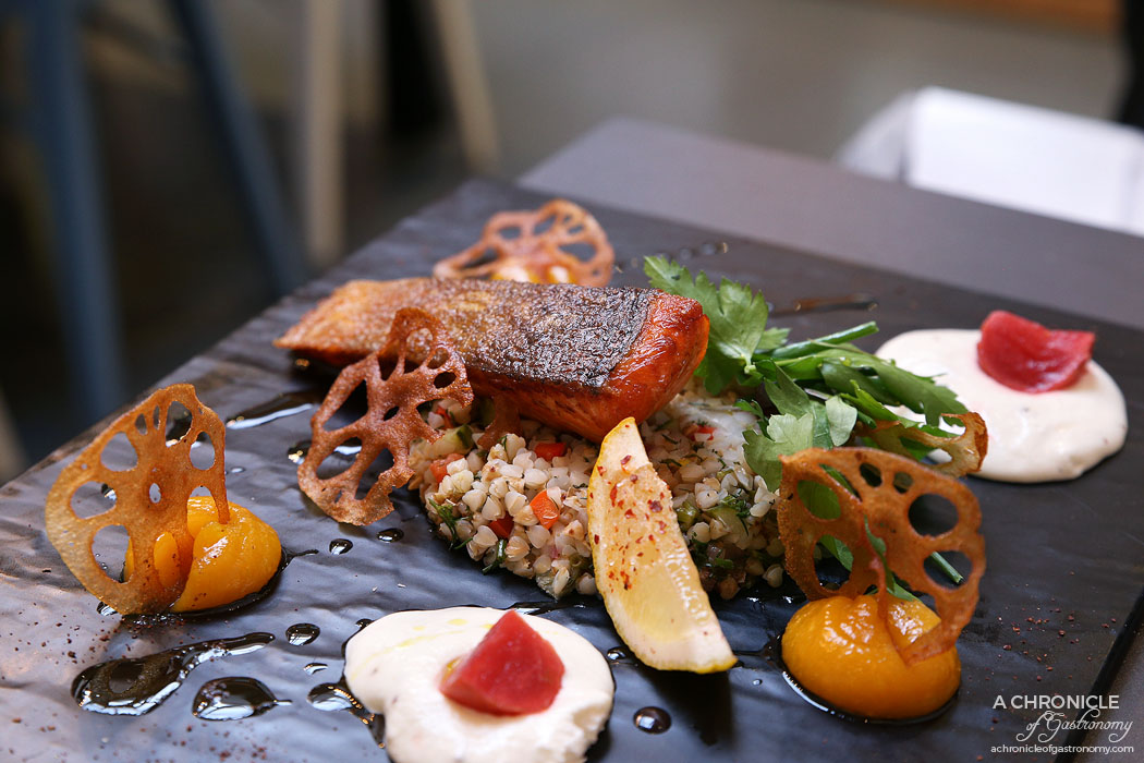 Speakeasy - Crispy ocean trout w chilli citrus tabbouleh, goat cheese curd, apricot and lychee dressing and lotus roots crisps ($28)