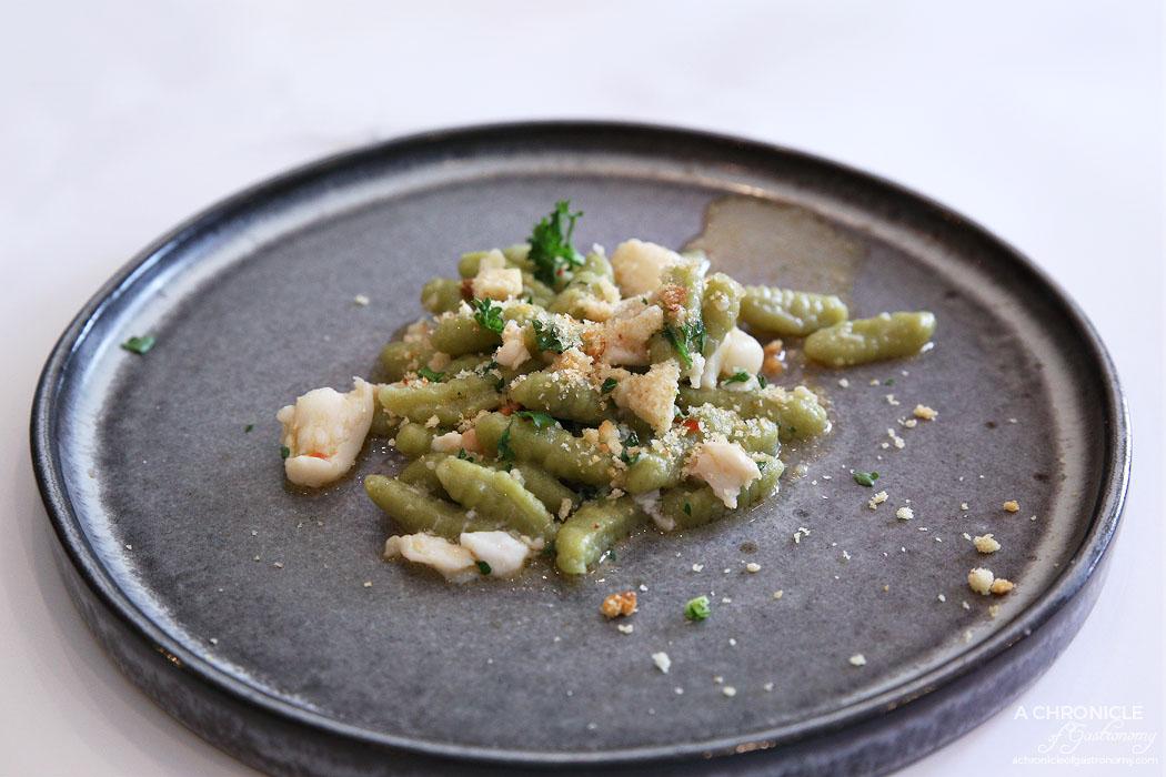 Cafe Latte - Cavatelli - Nettle pasta, blue swimmer crab, chilli, garlic, olive oil
