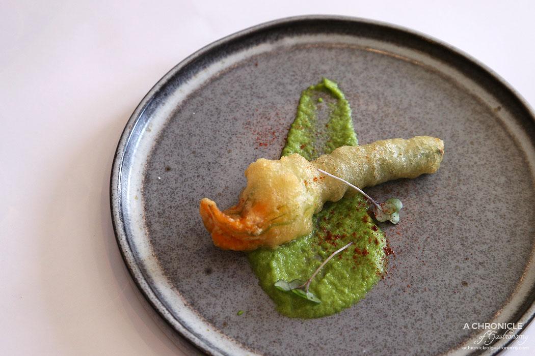 Cafe Latte - Fiori di Zucca (Zucchini flower) - Lobster stuffed zucchini flower, ricotta, asparagus puree
