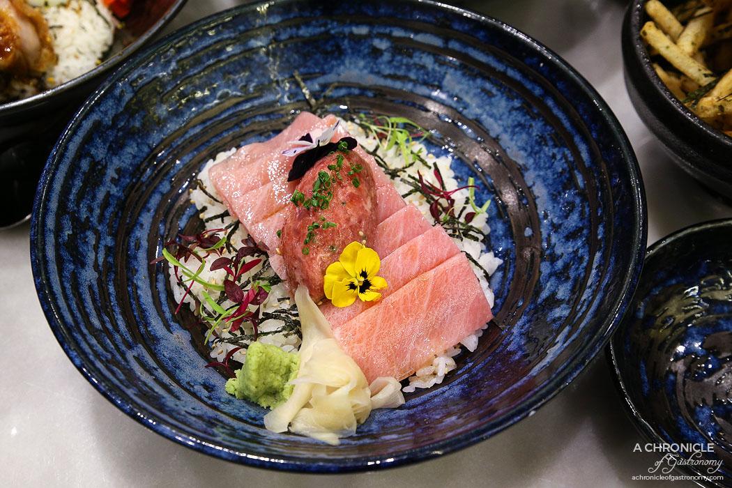 Calia - The Toro Bowl - Tuna belly glazed with suki sauce and tuna belly tartare ($39.80)