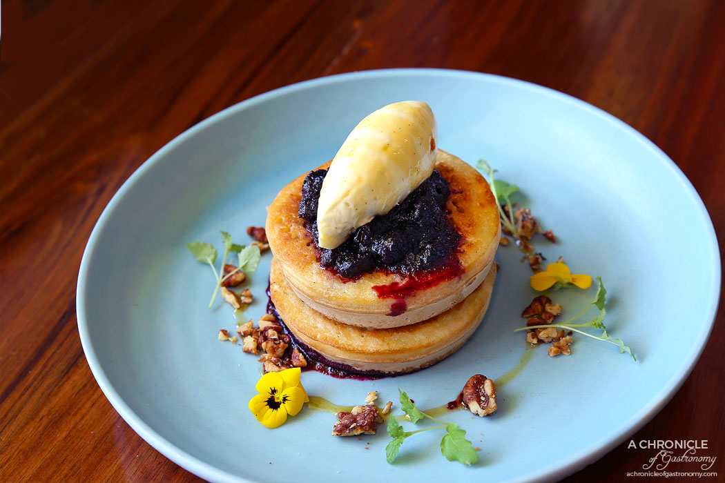 Lillie Eatery - Dr Marty's Crumpets - Vanilla mascarpone, blueberry compote, crushed walnuts and burnt honey ($13)